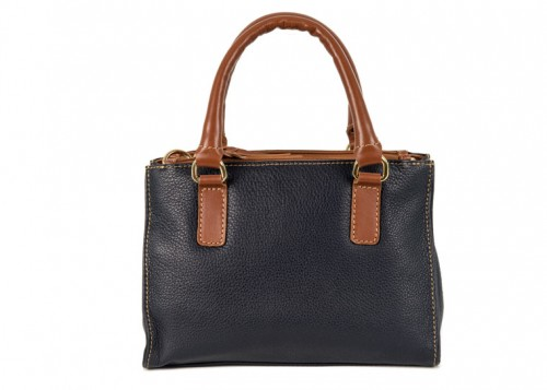 Nova Leather Shoulder Handbag Navy & Tan Style 6064