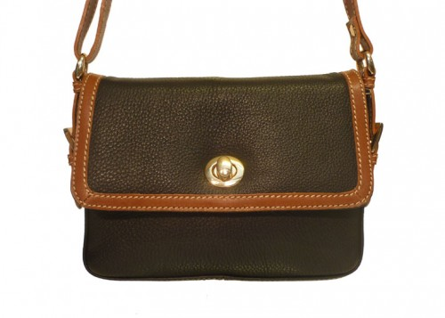 Nova Leather Shoulder Handbag Black & Tan 7014