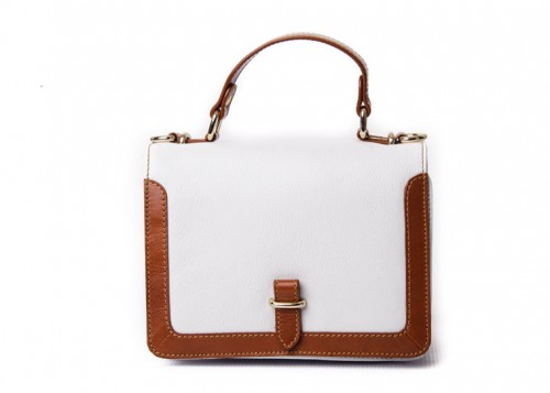 Nova Leather Satchel Handbag White Style - 7214