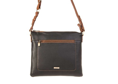 Nova 849 Leather Cross Body Handbag Black & Chestnut