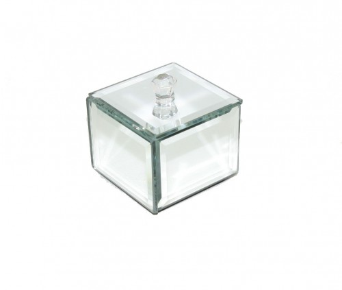 Glass Mirrored Trinket Box Silver