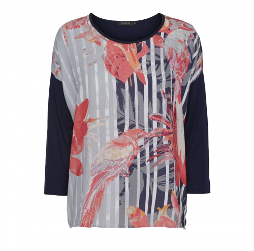 Godske Tropical Long Sleeved Navy & Pink Top