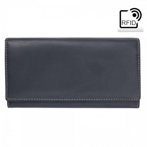 Primehide Leather RFID Matinee Purse Black/Taupe