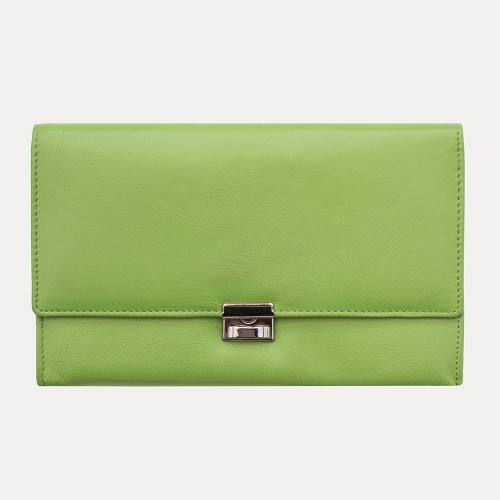 Primehide Leather Travel Wallet Purse Lime 449