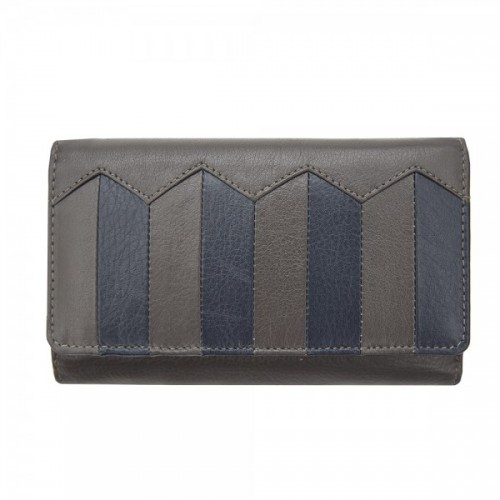 Primhide Laether RFID Purse Navy & Grey