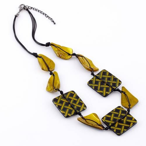 Dante Necklace Square Shapes Yellow & Black