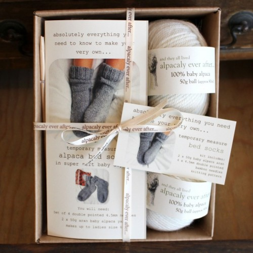 Alpaca Bed Sock Knitting Kit Cream