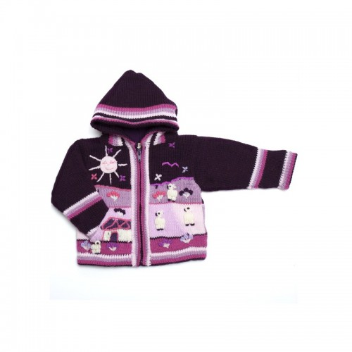 Childrens Alpaca Applique Lined Cardigan Purple