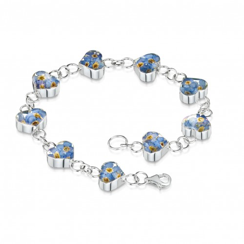 Shrieking Violet Sterling Silver Heart Links Bracelet Forget Me Not