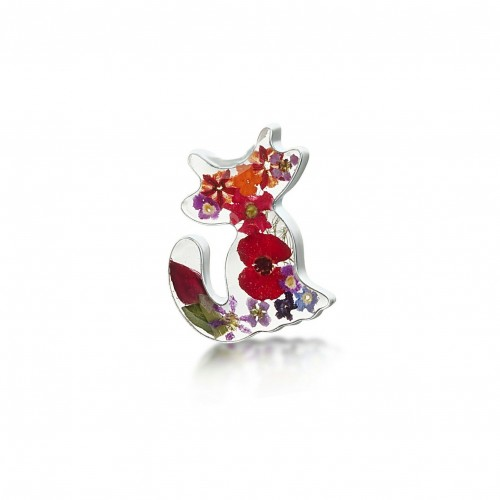 Shrieking Violet Sterling Silver Cat Brooch Mixed Flowers