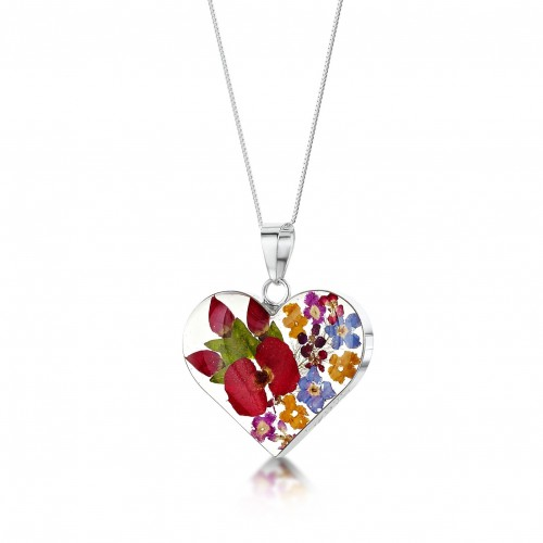 Shrieking Violet Sterling Silver Medium Heart Pendant Mixed Flowers