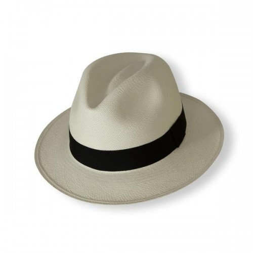 Panama Teardrop Fedora Hat White & Black