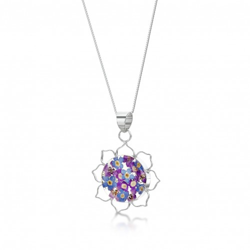 Shrieking Violet Purple Haze Lotus Pendant Necklace