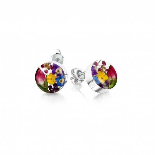Shrieking Violet Sterling Silver Round Stud Earrings Mixed Flowers