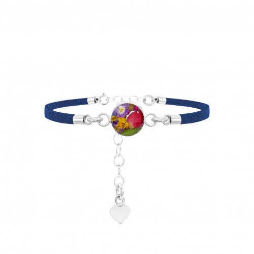 Shrieking Violet Real Mixed Flowers Navy Bracelet