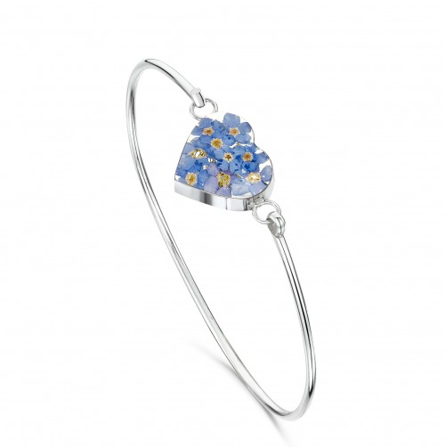 Shrieking Violet Sterling Silver Heart Bangle Forget Me Not