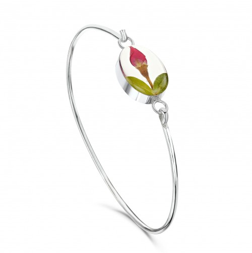 Shrieking Violet Sterling Silver Bangle Rose Bud