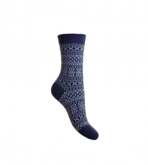 Pantherella Faith Cashmere Fairisle Socks Dark Blue