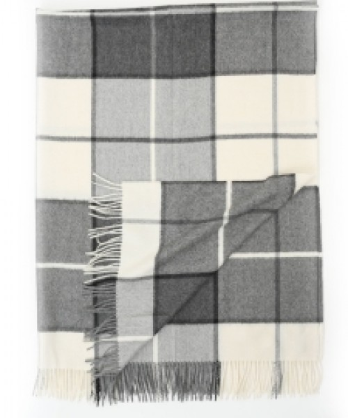 Alpaca Blanket/Throw Grey Check