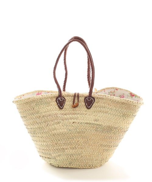 Large White Floral Lined Shopping Basket