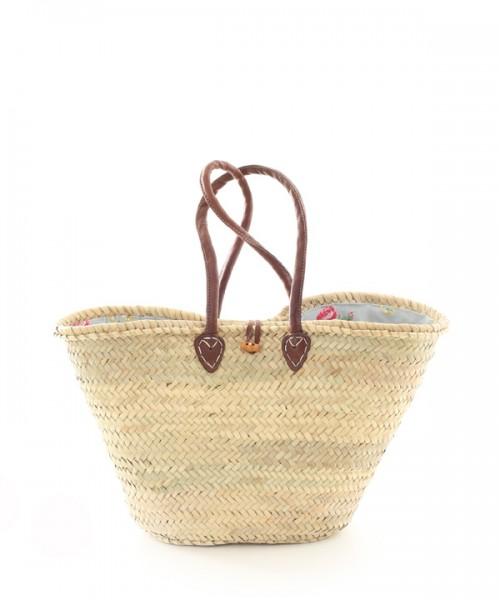 Large Lined Shopping Basket Blue