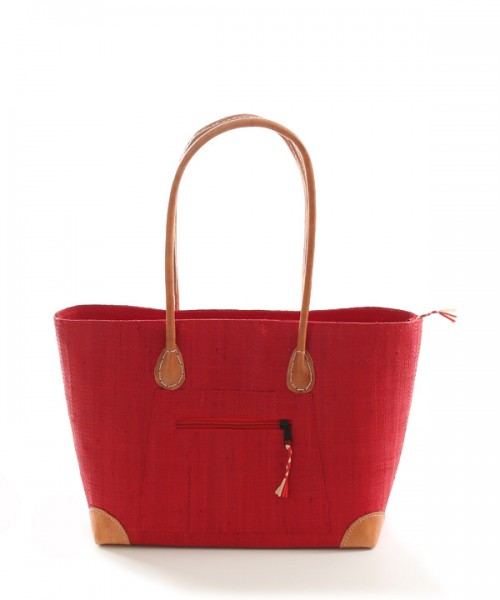 Raffia Basket Handbag Red