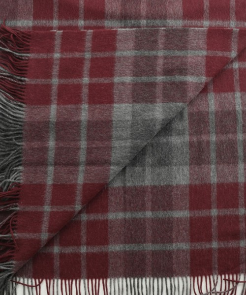 Alpaca & Wool Blanket / Throw Red & Grey Check