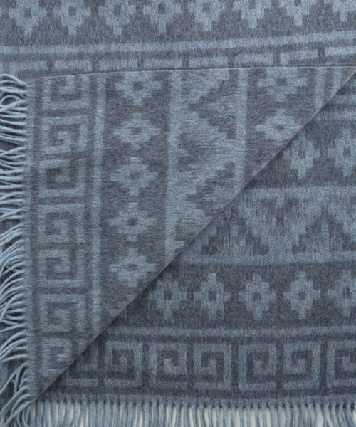 Alpaca & Wool Blanket / Throw Denim Print