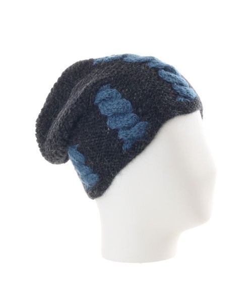 The Alpaca Collection Beanie Hat Blue & Grey