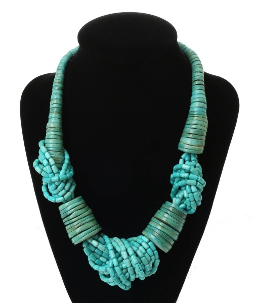 Dante Wooden Knots Necklace Turquoise