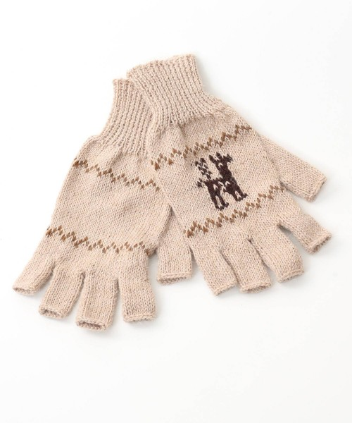alpaca fingerless gloves motif fawn