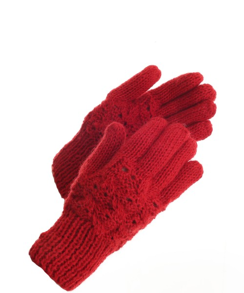 The Alpaca Collection Gloves Cable Knit Red