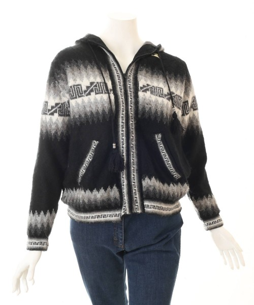 Alpaca Inca Hooded Cardigan Black