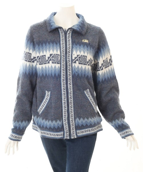 Alpaca Inca Cardigan Collar Blue
