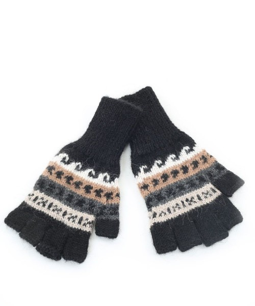 Alpaca Peruvian Fingerless Gloves Black