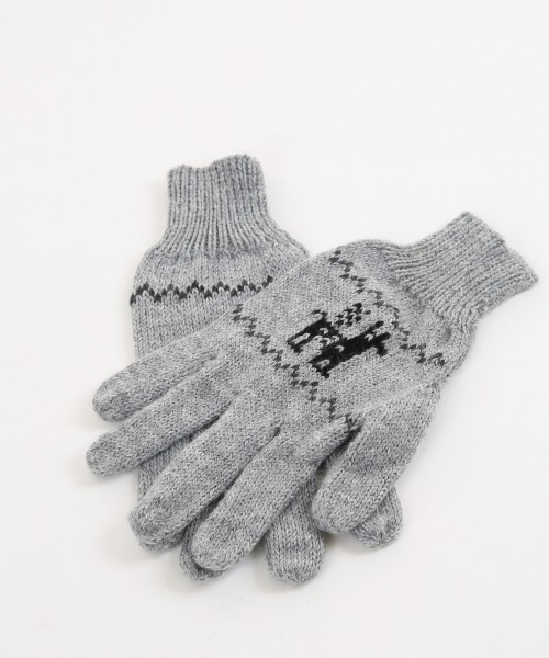 Alpaca Gloves Motif Light Grey