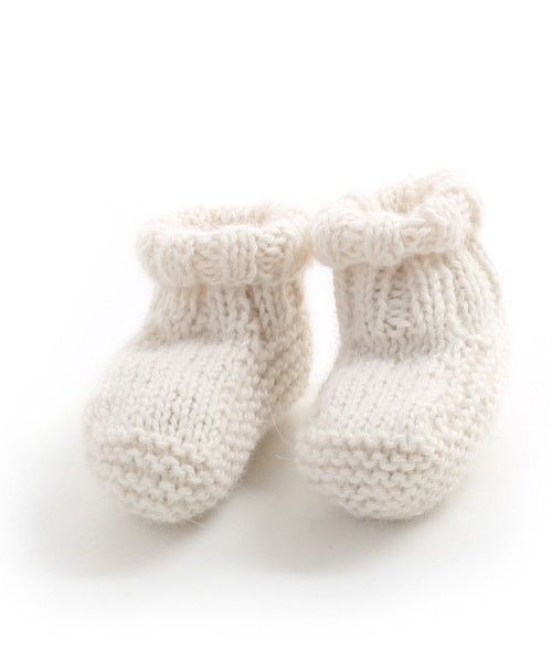 Alpaca Hand Knitted Baby Slippers Cream