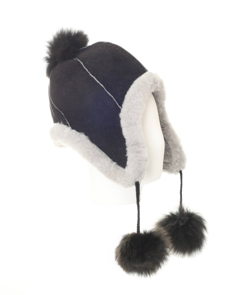 Alpaca & Sheepkin Pompom Hat Black