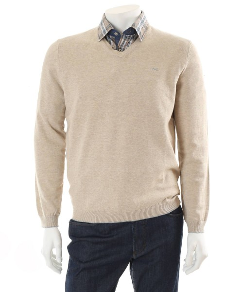 Brax Vico V Neck Cotton Jumper Beige