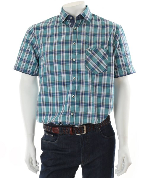 Brax Kuno Short Sleeve Shirt Green Check