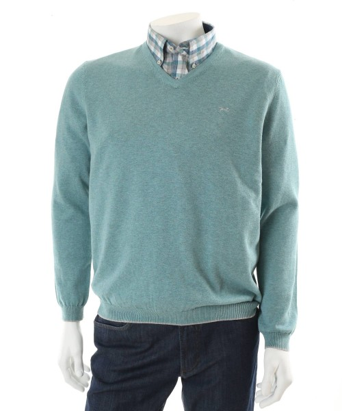 Brax Vico V Neck Jumper Mint Green