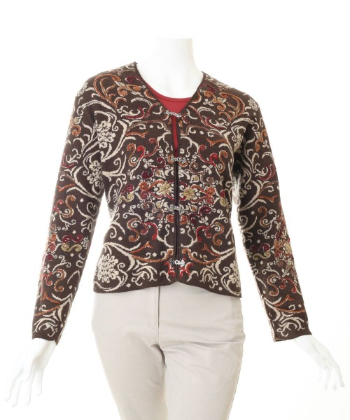 Alpaca Cardigan Floral Brown