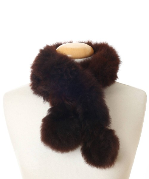 alpaca fur scarf dark brown