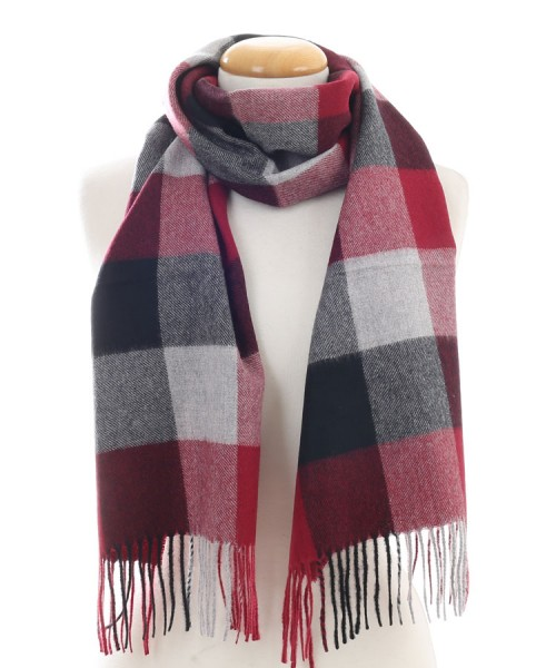 Baby Alpaca Woven Brushed Scarf Burgundy Check