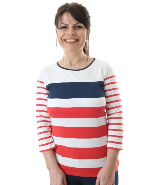 Brax Carina Long Sleeved Cotton Striped Top Red