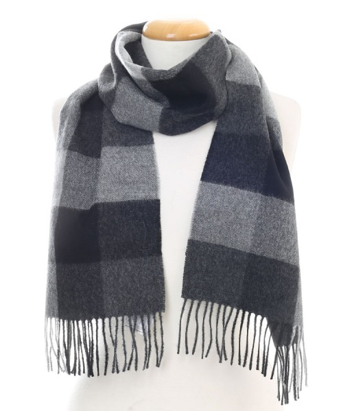 Baby Alpaca Woven Brushed Scarf Charcoal Check