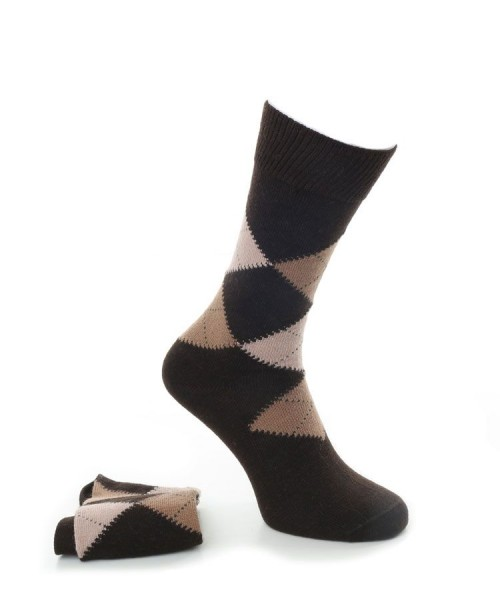 Alpaca Mens Argyle Smart Socks Brown