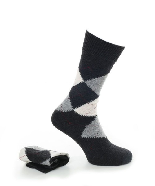 Alpaca Argyle Smart Socks Charcoal