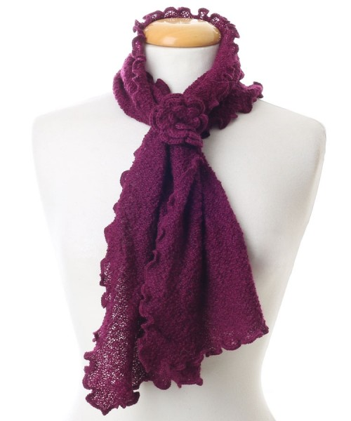 Baby Alpaca Curly Edge Scarf Berry