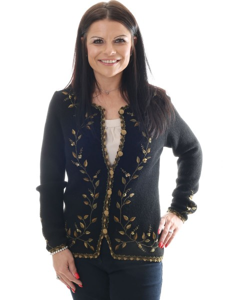 Alpaca Embroidered Cardigan Black